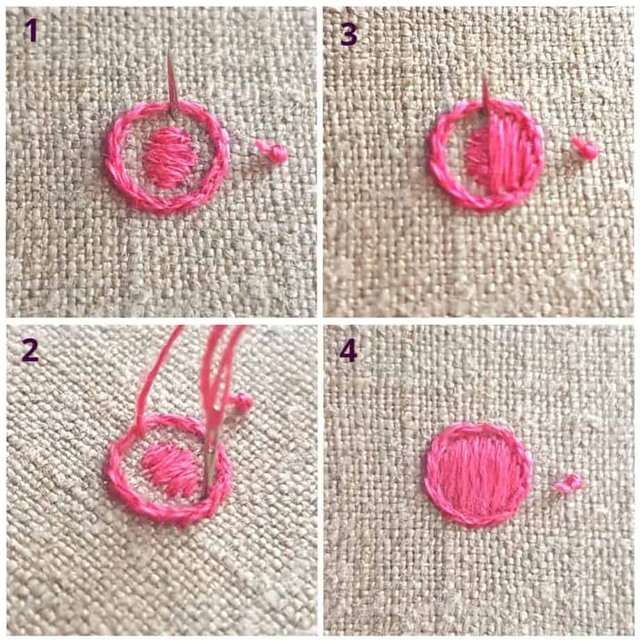 step by step tutorial on how to stitch padded satin stitch by hand