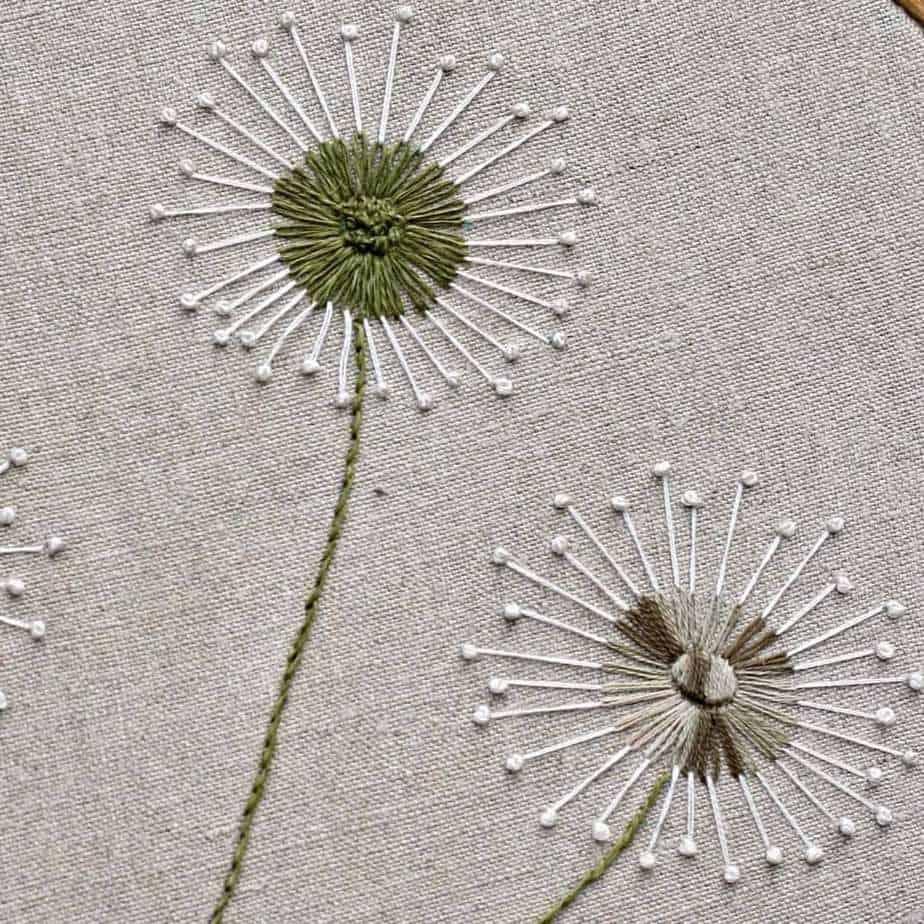 stitching dandelions detail